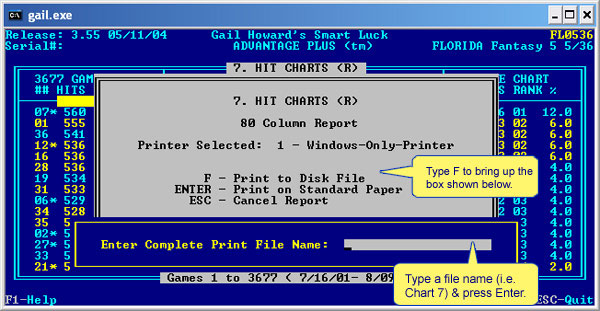 Print to a text file in Advantage Plus