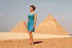 Click to visit Gail Howard's Egypt travel adventures web site. Gail Howard in Egypt 1968, in front of the ancient Pyramids of Giza.