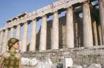 Gail Howard in Greece 1967. Gail Howard at the Parthenon on the Acropolis.