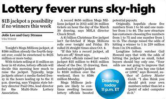 Front Page Lottery  Article of USA Today