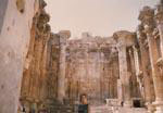 Gail Howard in Lebanon  1968. Gail Howard inside the 2000 year-old Temple of Bacchus at Baalbeck in the Bekaa Valley of Lebanon.