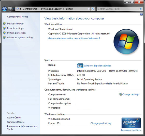 System Properties Windows 7 Pro 64-bit