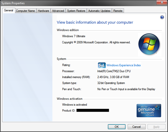 System Properties Windows 7 Ultimate 32-bit