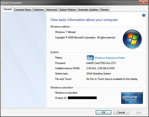 System Properties Screen Shots