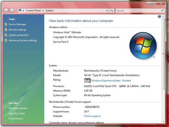 System Properties Windows Vista Ultimate 64-bit