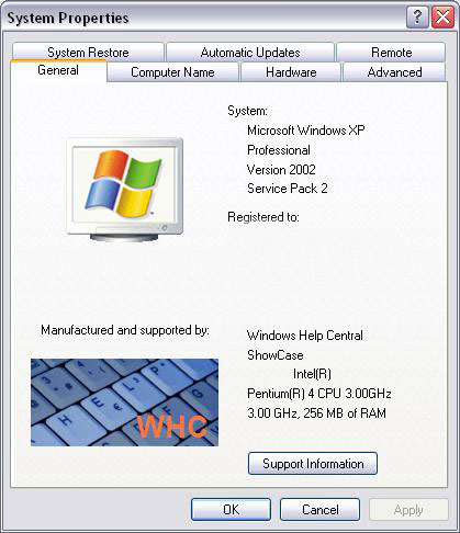 System Properties Windows XP 32-bit