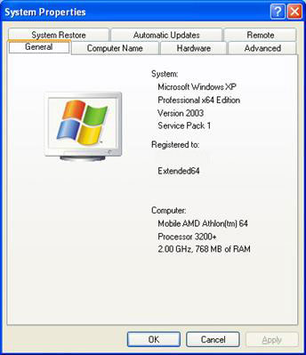 System Properties Windows XP Pro 64-bit