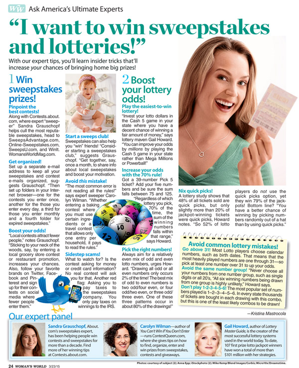 Woman's Day Gail Howard lotto article