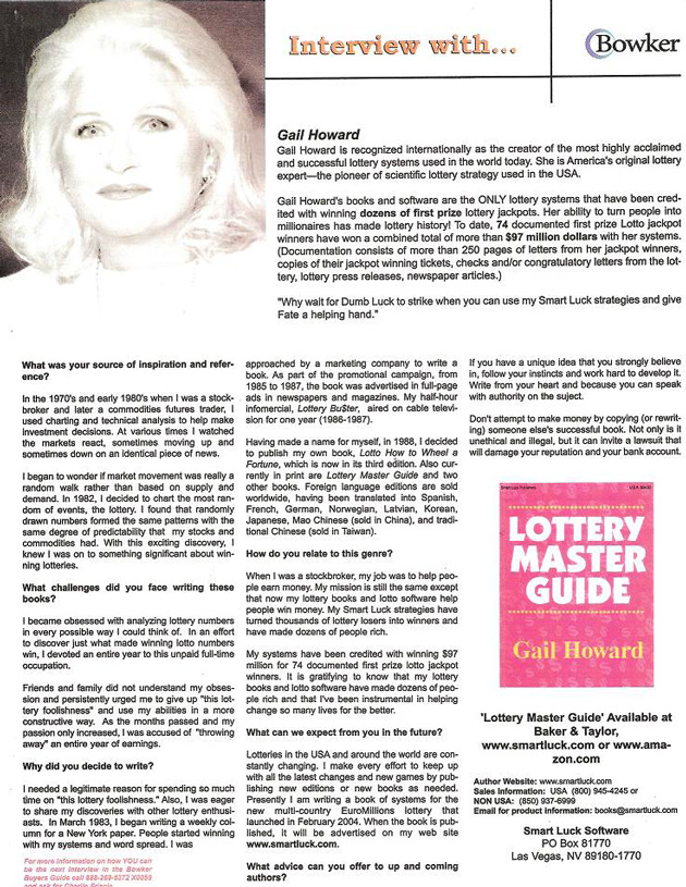 gail howard s interview with bowker rh smartluck com Gail Howard Curry gail howard's book lottery master guide